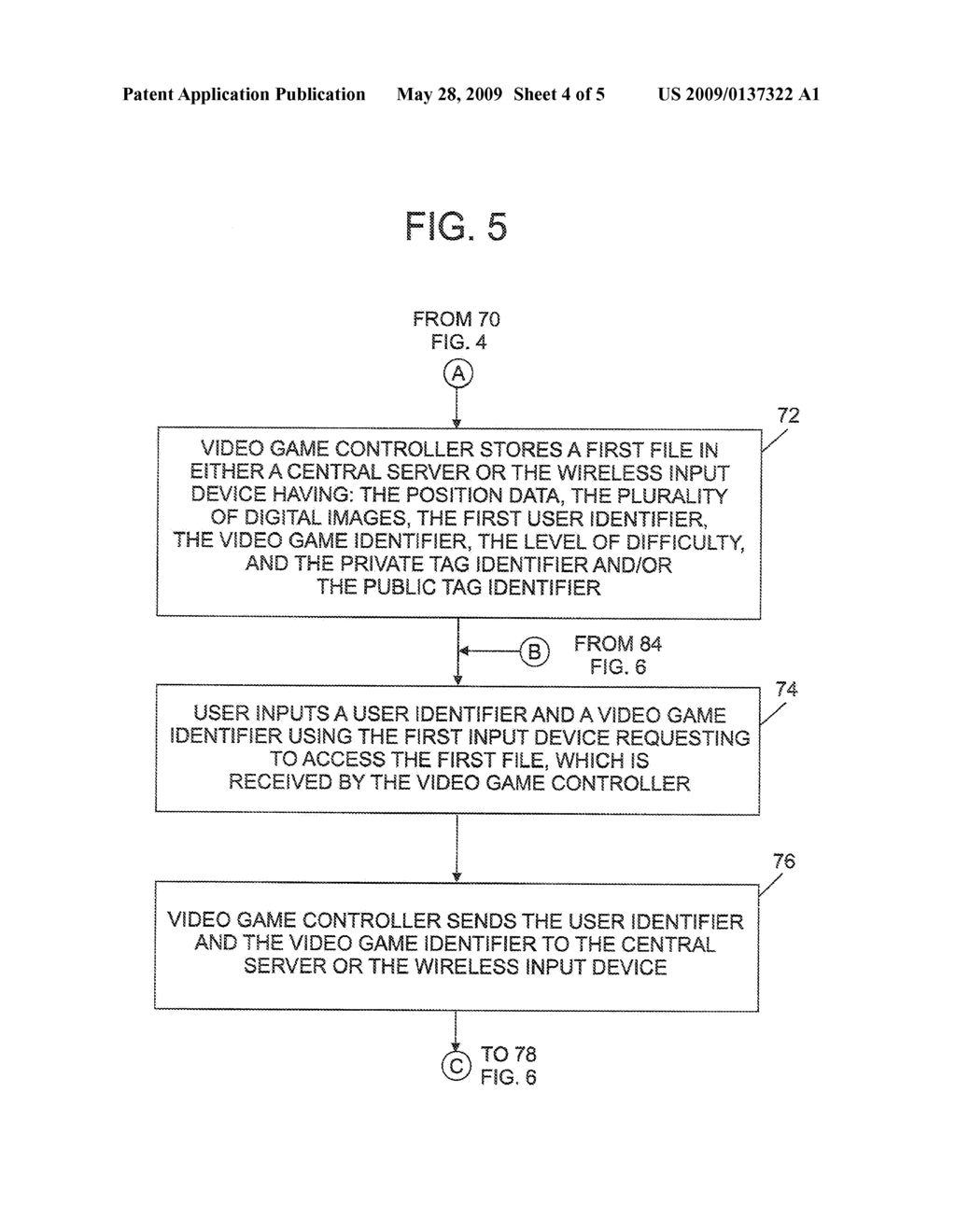 METHOD FOR STORING DATA ASSOCIATED WITH A VIDEO GAME - diagram, schematic, and image 05