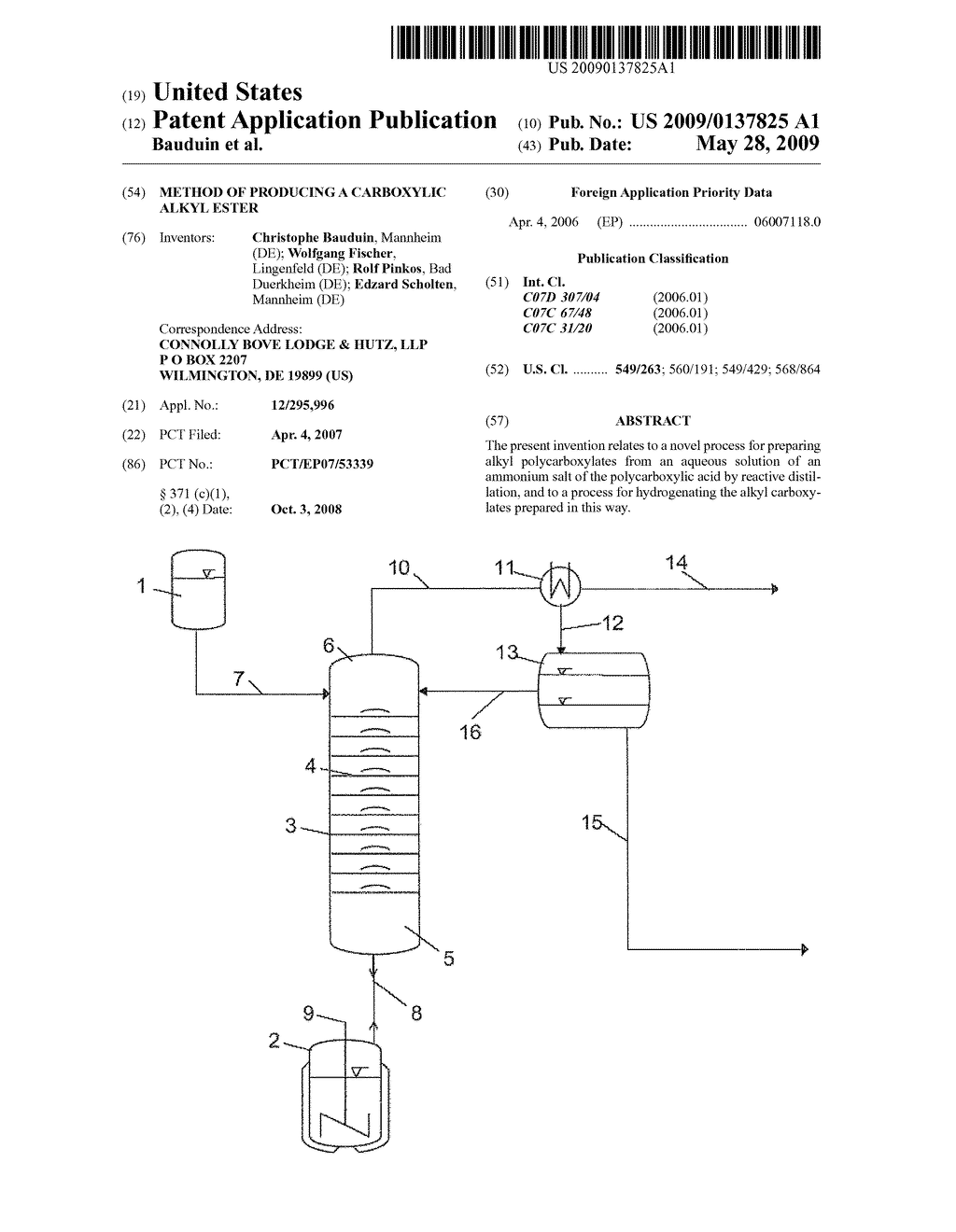 METHOD OF PRODUCING A CARBOXYLIC ALKYL ESTER - diagram, schematic, and image 01