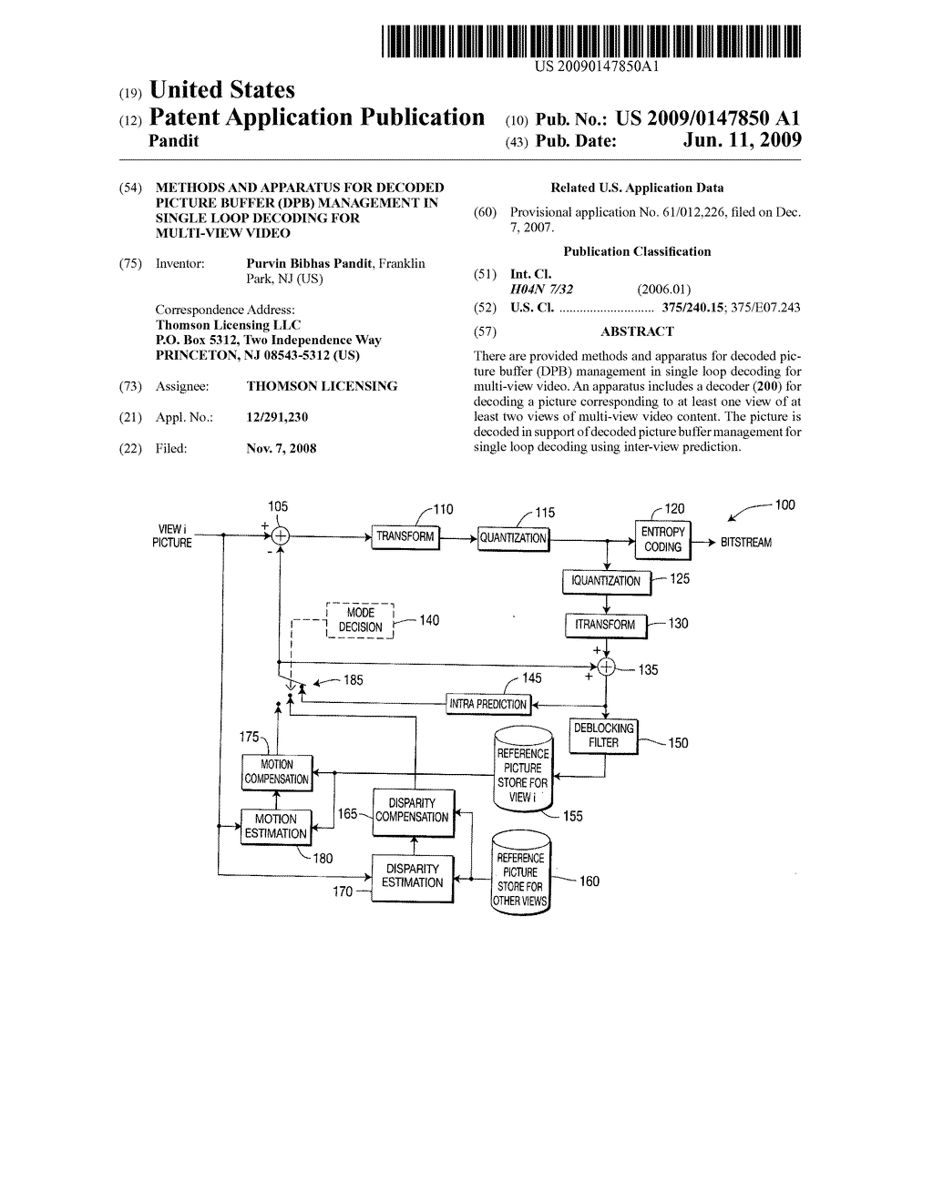 Methods and apparatus for decoded picture buffer (DPB) management in single loop decoding for multi-view video - diagram, schematic, and image 01