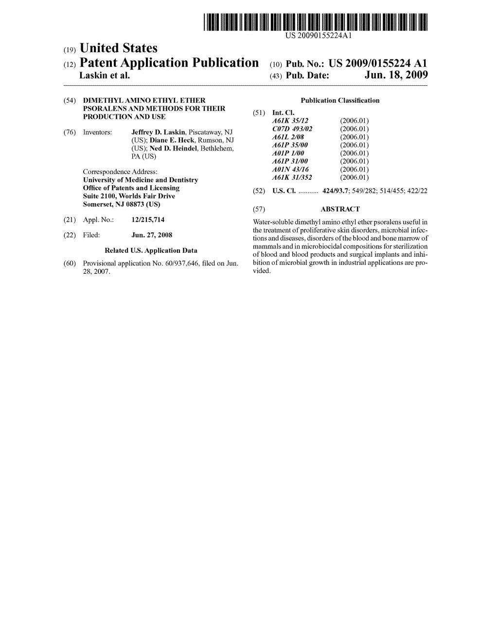 Dimethyl amino ethyl ether psoralens and methods for their production and use - diagram, schematic, and image 01