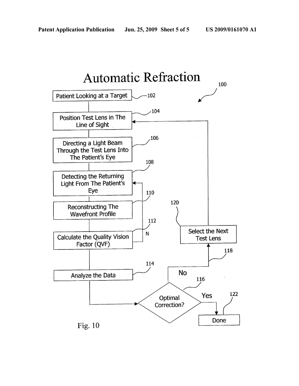 APPARATUS AND METHOD FOR DETERMINING OBJECTIVE REFRACTION USING WAVEFRONT SENSING - diagram, schematic, and image 06