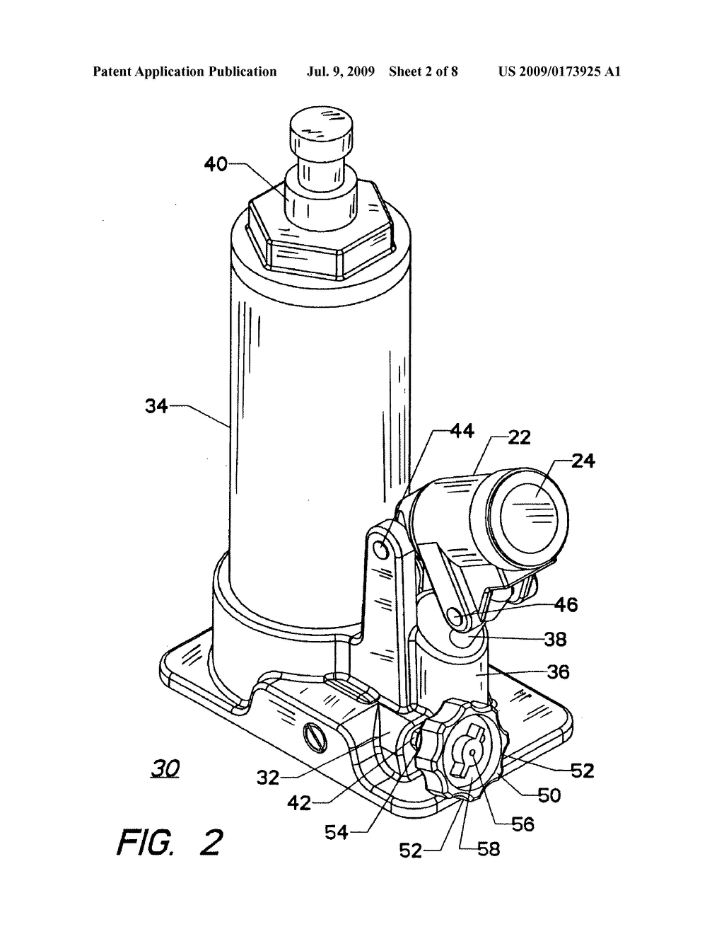 hydraulic bottle jack with a control valve having a control knob    hydraulic bottle jack   a control valve having a control knob and an automatic return   diagram  schematic  and image