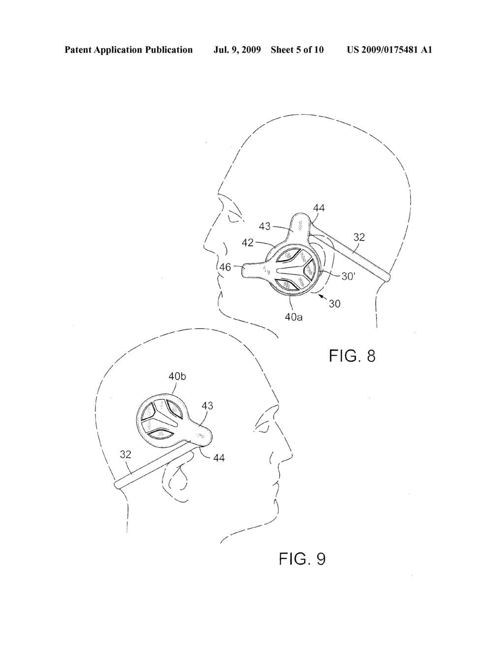 REVERSIBLE BEHIND-THE-HEAD MOUNTED PERSONAL AUDIO SET WITH PIVOTING EARPHONE - diagram, schematic, and image 06