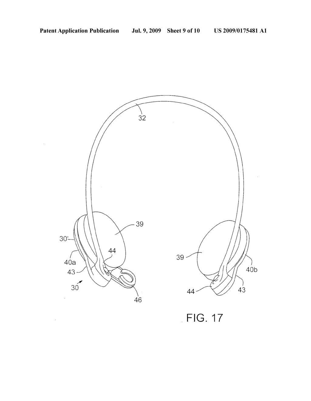 REVERSIBLE BEHIND-THE-HEAD MOUNTED PERSONAL AUDIO SET WITH PIVOTING EARPHONE - diagram, schematic, and image 10