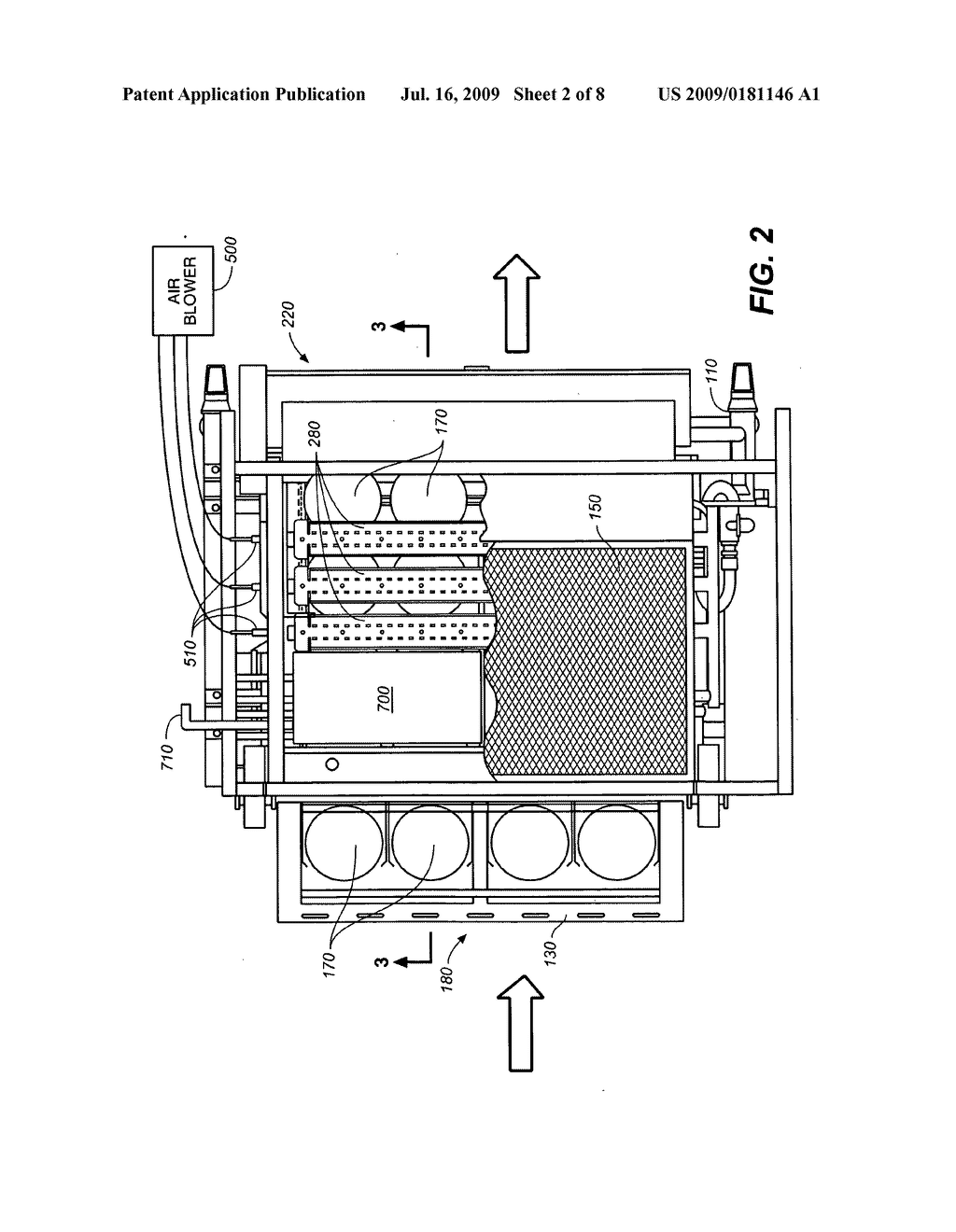 MULTI-STAGE COOKING SYSTEM USING RADIANT, CONVECTION, AND MAGNETIC INDUCTION HEATING, AND HAVING A COMPRESSED AIR HEAT GUIDE - diagram, schematic, and image 03