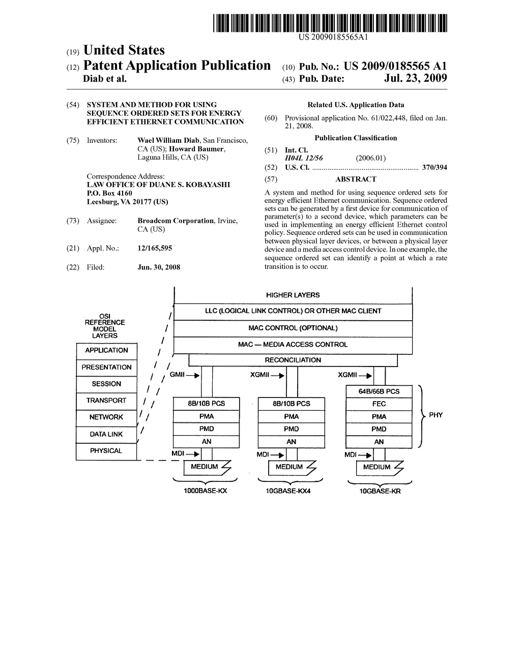 SYSTEM AND METHOD FOR USING SEQUENCE ORDERED SETS FOR ENERGY EFFICIENT ETHERNET COMMUNICATION - diagram, schematic, and image 01