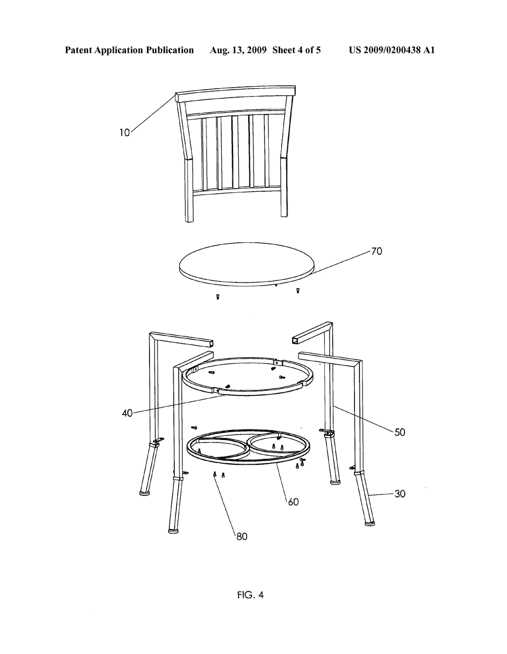 READY TO ASSEMBLE ADJUSTABLE BAR STOOL AND METHOD FOR PACKAGING SAME - diagram, schematic, and image 05
