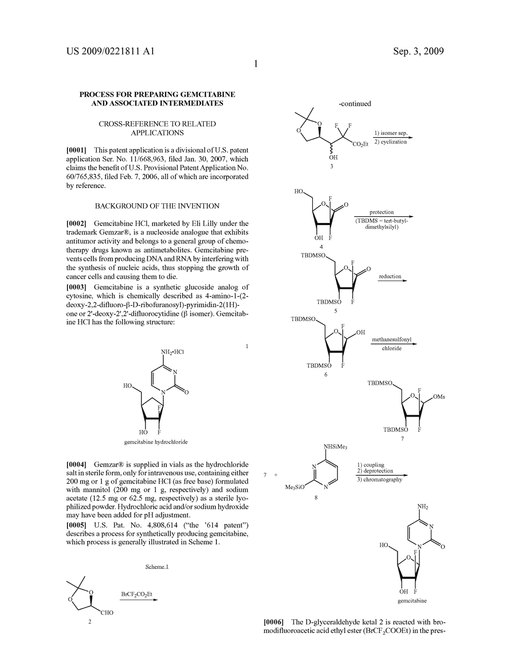 PROCESS FOR PREPARING GEMCITABINE AND ASSOCIATED INTERMEDIATES - diagram, schematic, and image 02