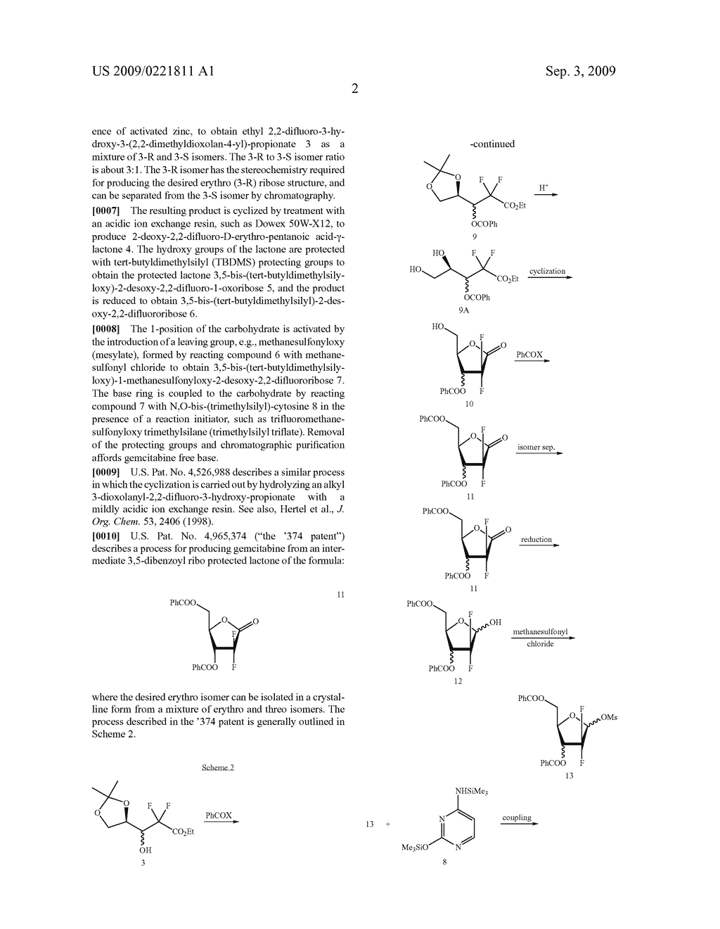 PROCESS FOR PREPARING GEMCITABINE AND ASSOCIATED INTERMEDIATES - diagram, schematic, and image 03