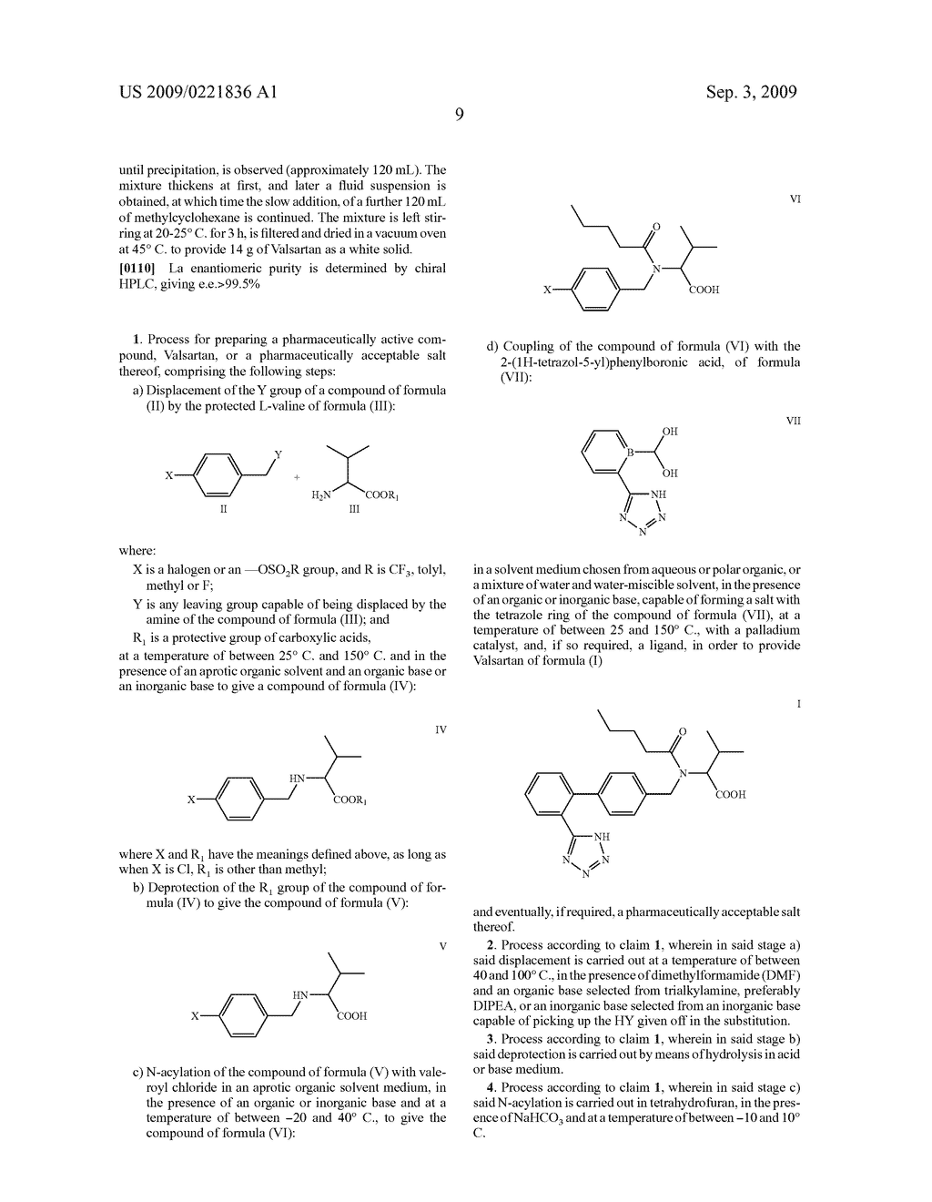 PROCESS FOR THE PREPARATION OF VALSARTAN AND PRECURSORS THEREOF - diagram, schematic, and image 10
