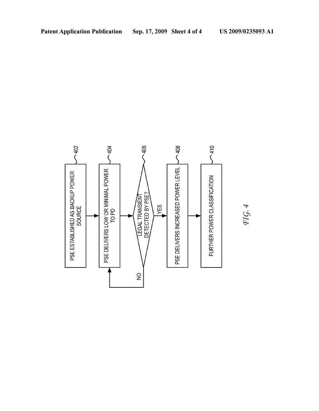 SYSTEM AND METHOD FOR POWER SOURCING EQUIPMENT DETECTION OF A POWERED DEVICE POWER FAILURE FOR POWER BACKUP - diagram, schematic, and image 05