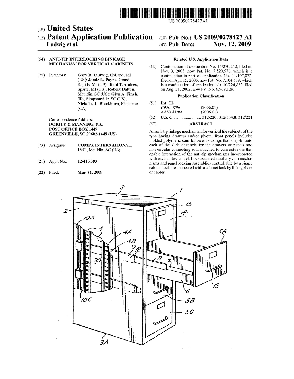 ANTI-TIP INTERLOCKING LINKAGE MECHANISM FOR VERTICAL CABINETS - diagram, schematic, and image 01