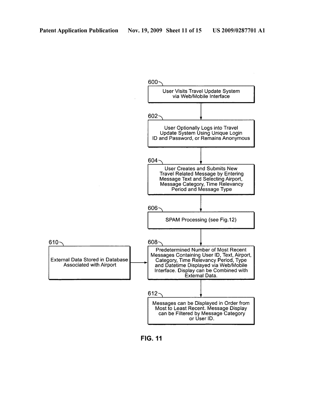 System and Method for Receiving and Displaying User Inputted Travel-Related Messages - diagram, schematic, and image 12
