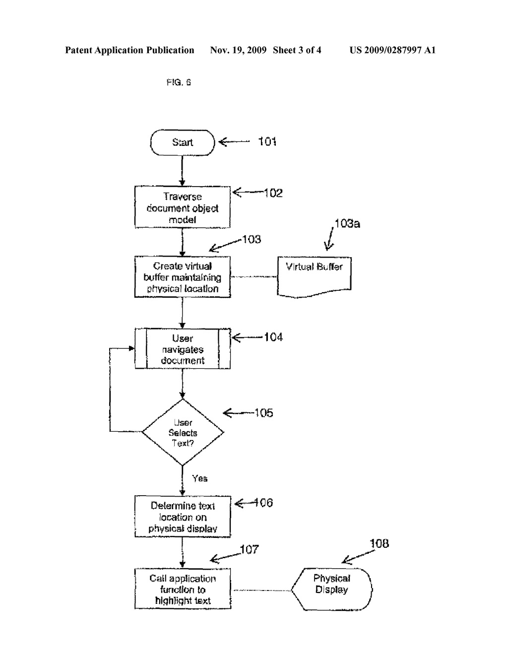System and Method for the On Screen Synchronization of Selection in Virtual Document - diagram, schematic, and image 04