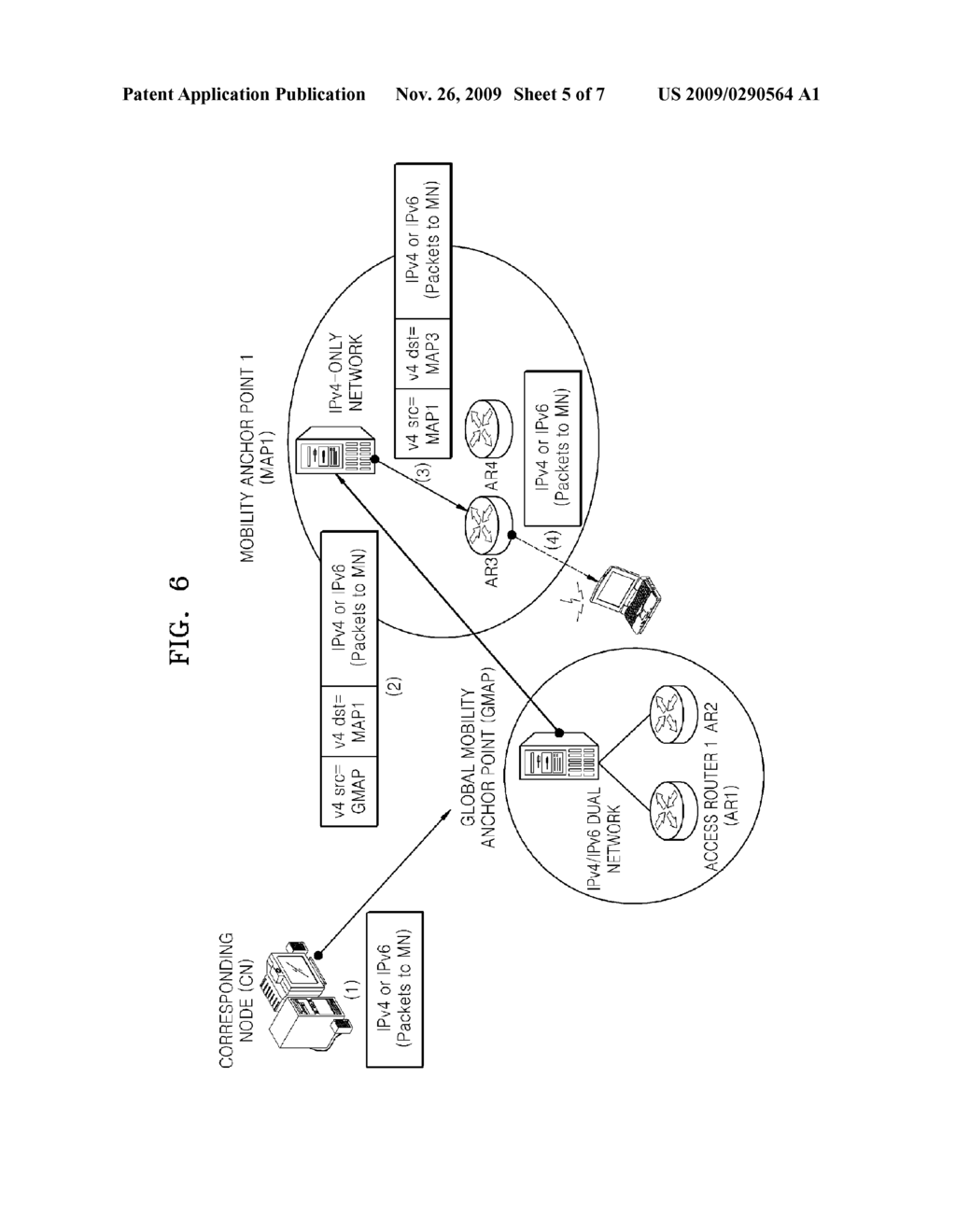 APPARATUS FOR AND METHOD OF SUPPORTING NETWORK-BASED MOBILITY FOR DUAL STACK NODES - diagram, schematic, and image 06