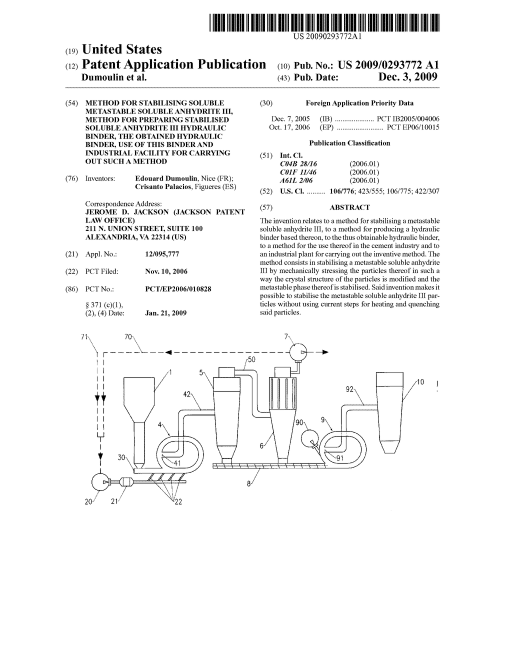 METHOD FOR STABILISING SOLUBLE METASTABLE SOLUBLE ANHYDRITE III, METHOD FOR PREPARING STABILISED SOLUBLE ANHYDRITE III HYDRAULIC BINDER, THE OBTAINED HYDRAULIC BINDER, USE OF THIS BINDER AND INDUSTRIAL FACILITY FOR CARRYING OUT SUCH A METHOD - diagram, schematic, and image 01