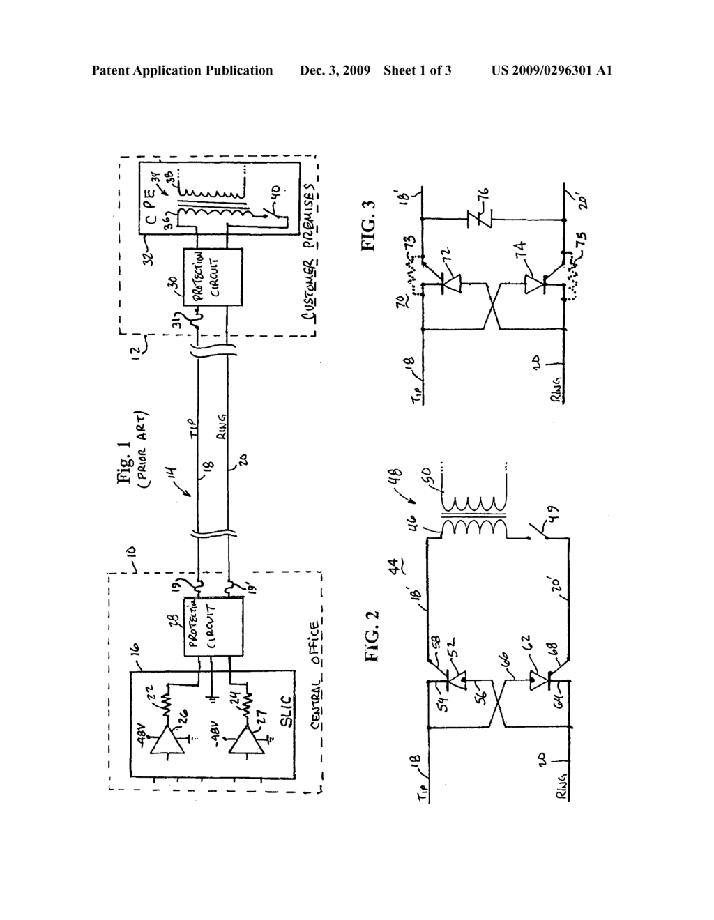 SCR circuit for protecting central office end of telephone line - diagram,  schematic, and image 02