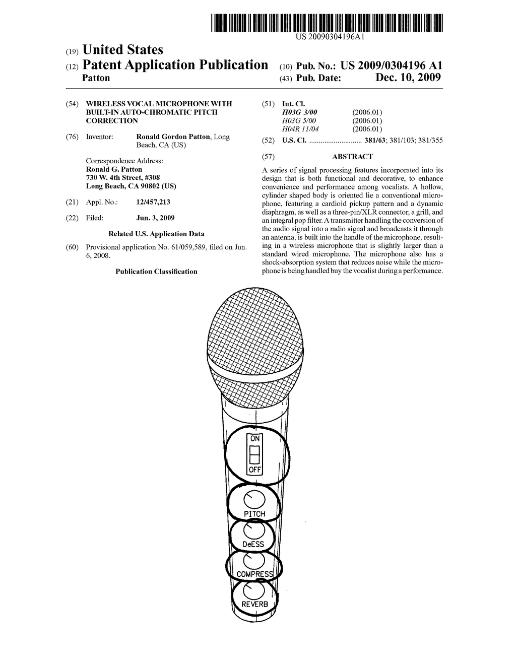 Wireless vocal microphone with built-in auto-chromatic pitch correction - diagram, schematic, and image 01