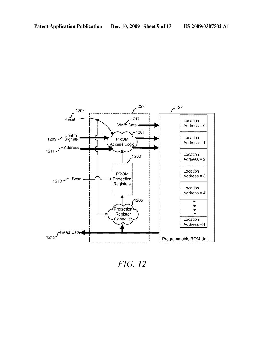 METHOD AND APPARATUS FOR SECURING DIGITAL INFORMATION ON AN INTEGRATED CIRCUIT READ ONLY MEMORY DURING TEST OPERATING MODES - diagram, schematic, and image 10