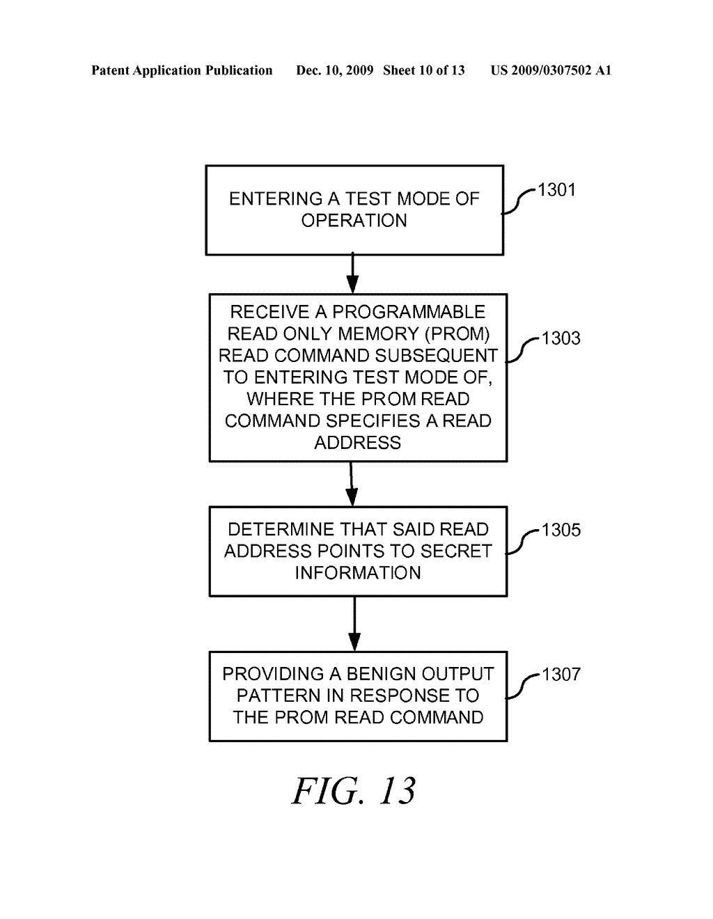 METHOD AND APPARATUS FOR SECURING DIGITAL INFORMATION ON AN INTEGRATED CIRCUIT READ ONLY MEMORY DURING TEST OPERATING MODES - diagram, schematic, and image 11