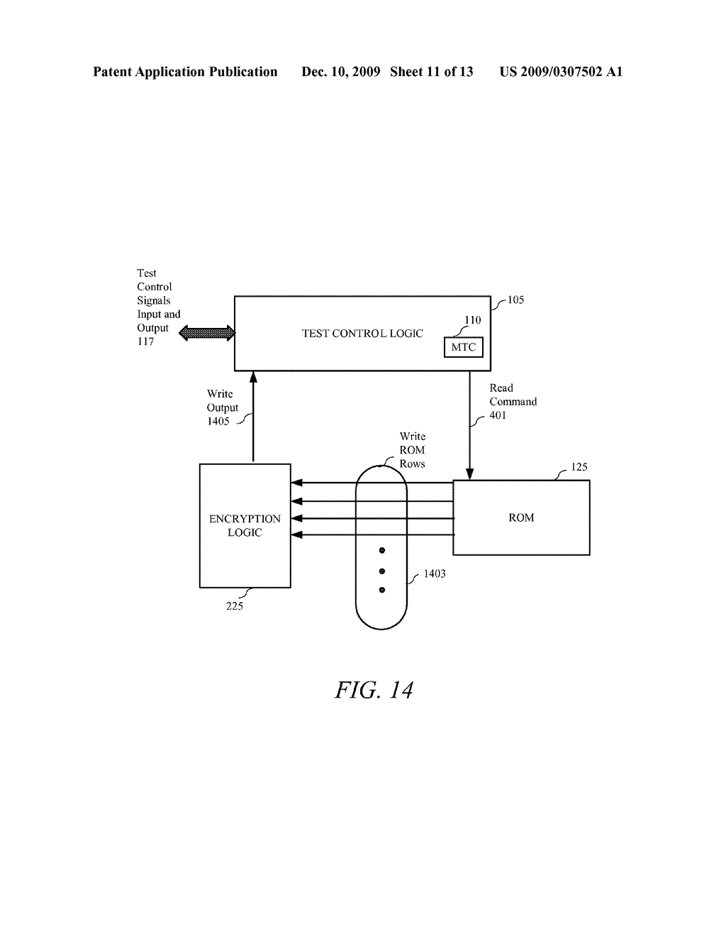 METHOD AND APPARATUS FOR SECURING DIGITAL INFORMATION ON AN INTEGRATED CIRCUIT READ ONLY MEMORY DURING TEST OPERATING MODES - diagram, schematic, and image 12