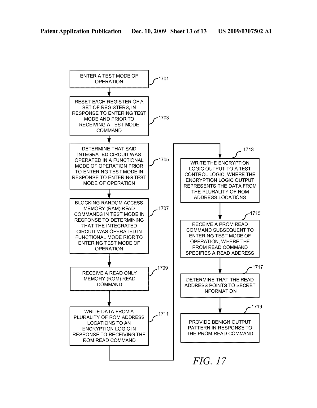 METHOD AND APPARATUS FOR SECURING DIGITAL INFORMATION ON AN INTEGRATED CIRCUIT READ ONLY MEMORY DURING TEST OPERATING MODES - diagram, schematic, and image 14
