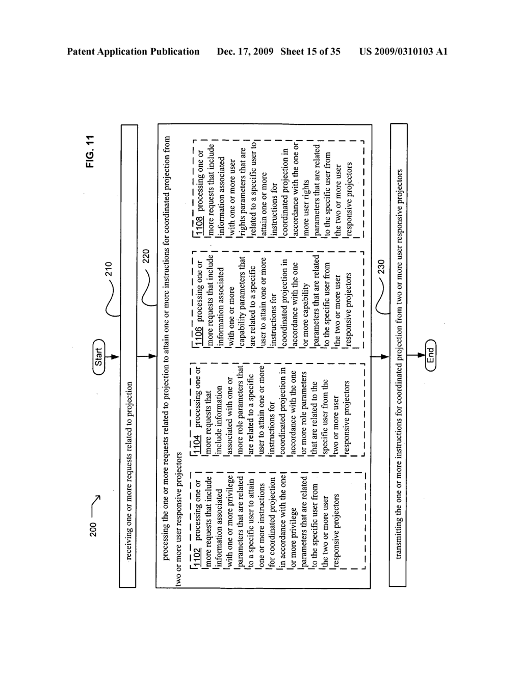 Methods and systems for receiving information associated with the coordinated use of two or more user responsive projectors - diagram, schematic, and image 16