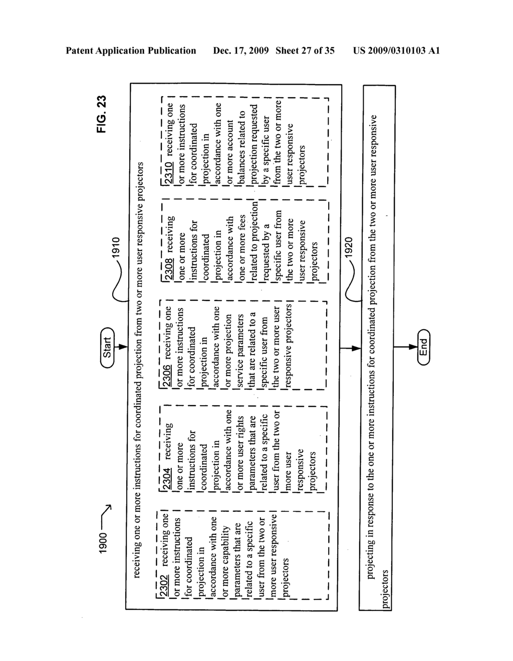 Methods and systems for receiving information associated with the coordinated use of two or more user responsive projectors - diagram, schematic, and image 28