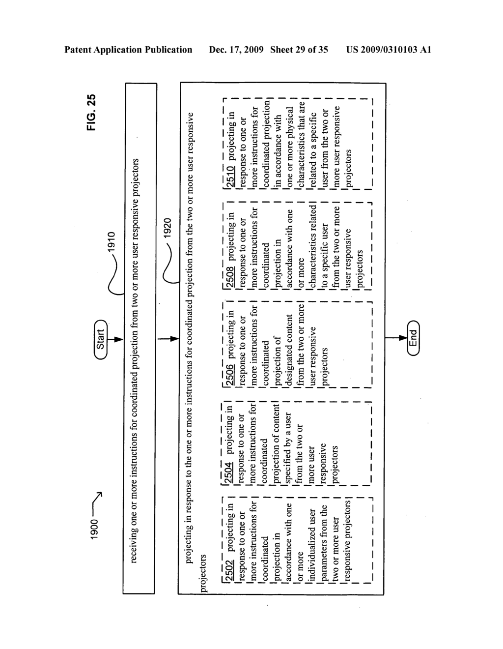 Methods and systems for receiving information associated with the coordinated use of two or more user responsive projectors - diagram, schematic, and image 30