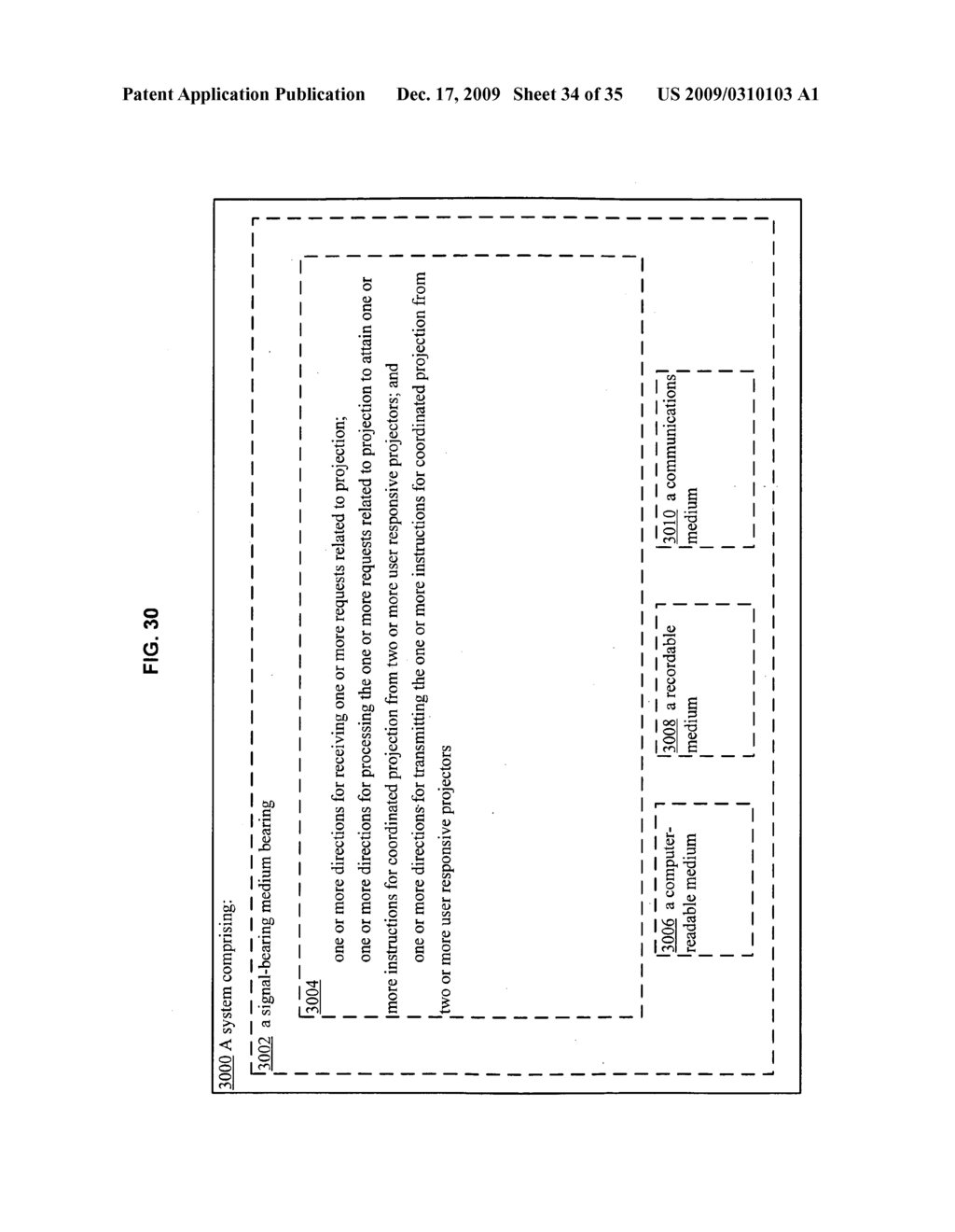 Methods and systems for receiving information associated with the coordinated use of two or more user responsive projectors - diagram, schematic, and image 35