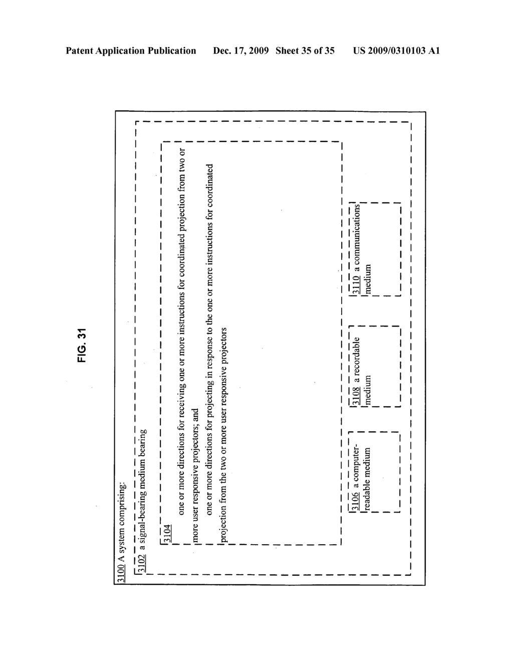 Methods and systems for receiving information associated with the coordinated use of two or more user responsive projectors - diagram, schematic, and image 36