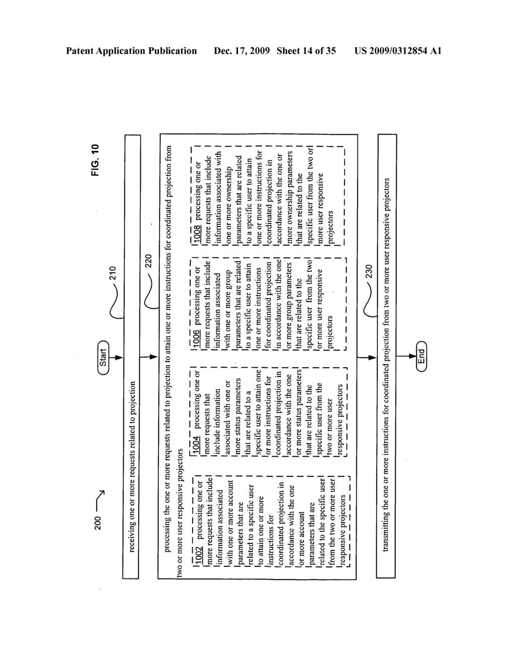 Methods and systems for transmitting information associated with the coordinated use of two or more user responsive projectors - diagram, schematic, and image 15