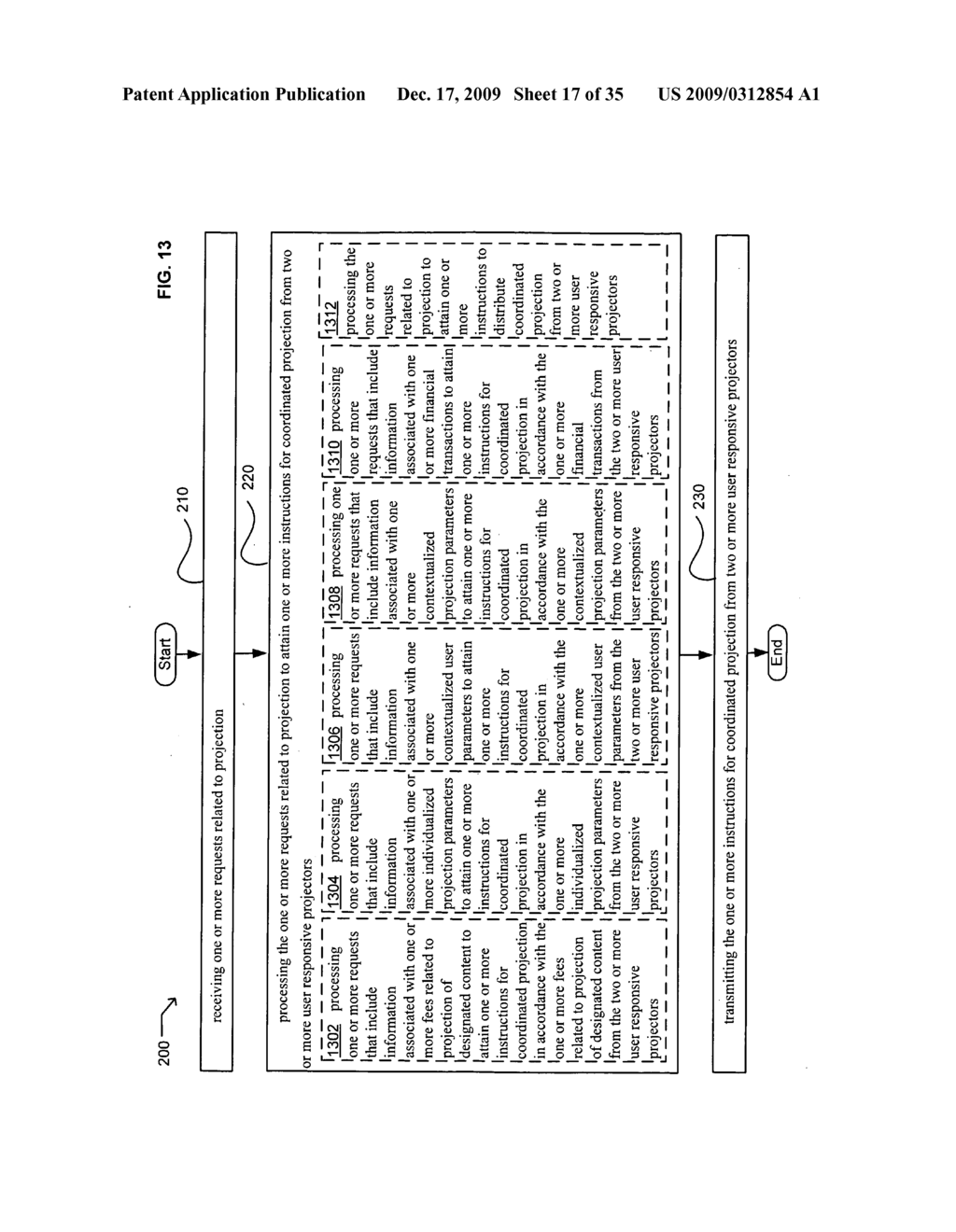 Methods and systems for transmitting information associated with the coordinated use of two or more user responsive projectors - diagram, schematic, and image 18