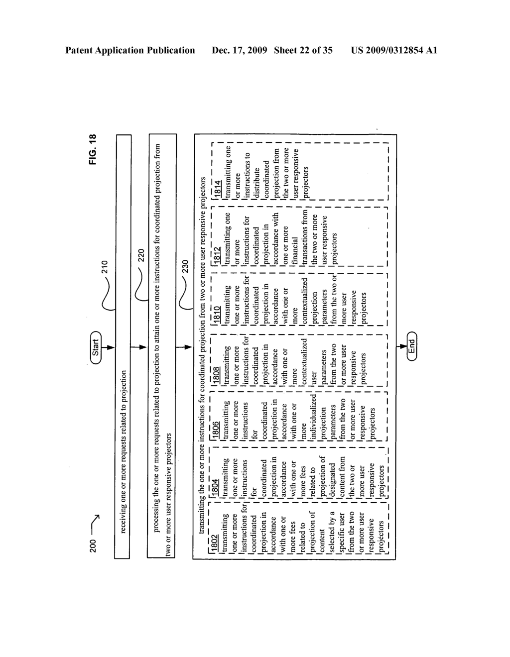 Methods and systems for transmitting information associated with the coordinated use of two or more user responsive projectors - diagram, schematic, and image 23