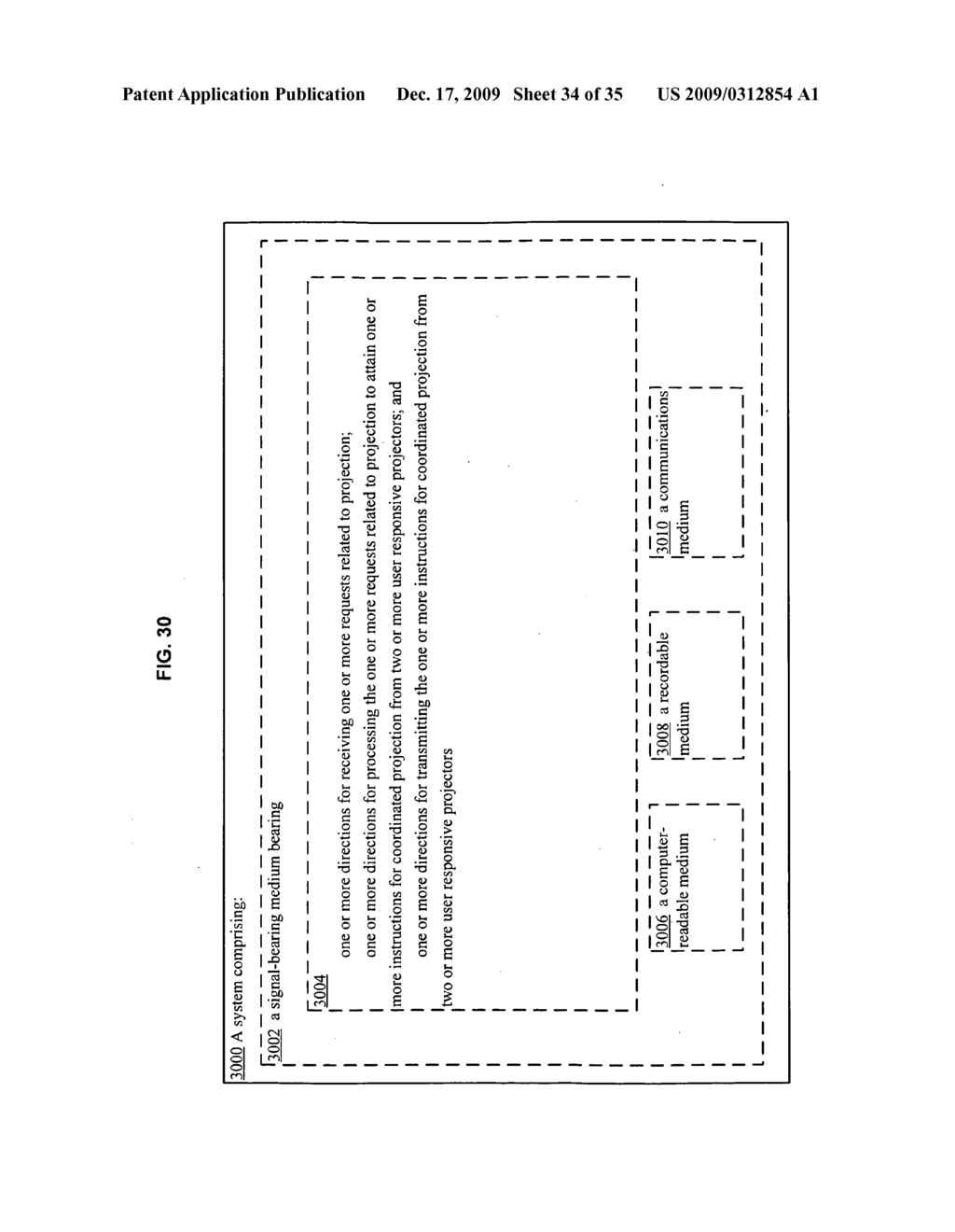 Methods and systems for transmitting information associated with the coordinated use of two or more user responsive projectors - diagram, schematic, and image 35