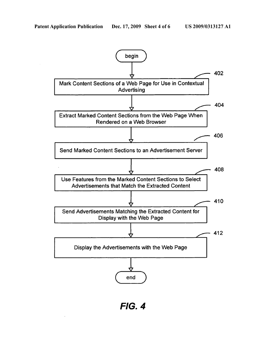 SYSTEM AND METHOD FOR USING CONTEXTUAL SECTIONS OF WEB PAGE CONTENT FOR SERVING ADVERTISEMENTS IN ONLINE ADVERTISING - diagram, schematic, and image 05