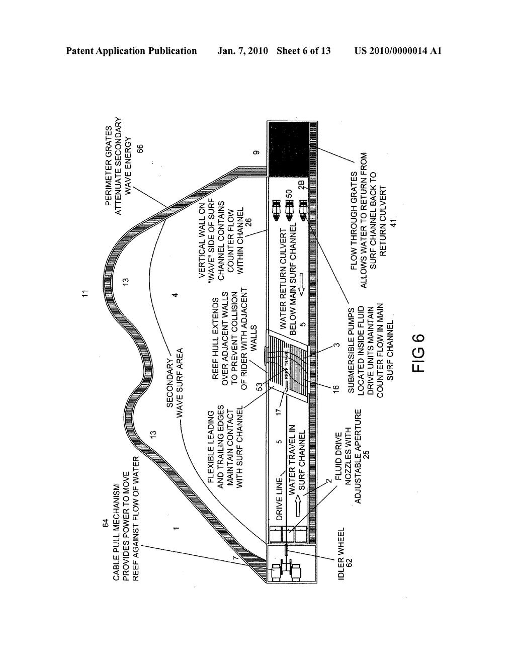 Wave pool with moving reef wave generator extension and counter current - diagram, schematic, and image 07