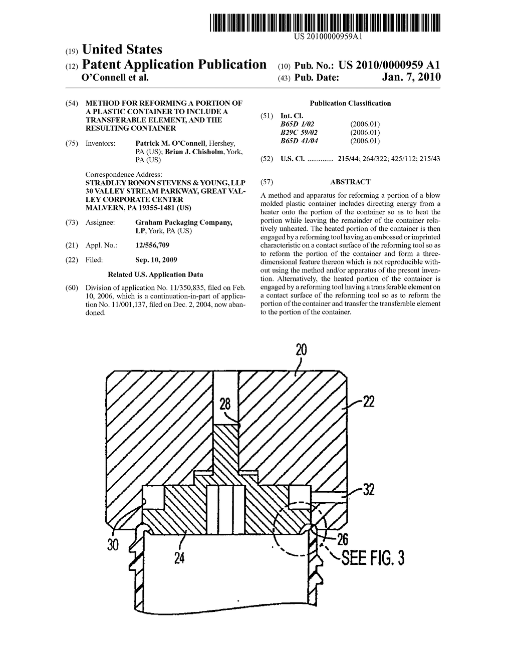 METHOD FOR REFORMING A PORTION OF A PLASTIC CONTAINER TO INCLUDE A TRANSFERABLE ELEMENT, AND THE RESULTING CONTAINER - diagram, schematic, and image 01