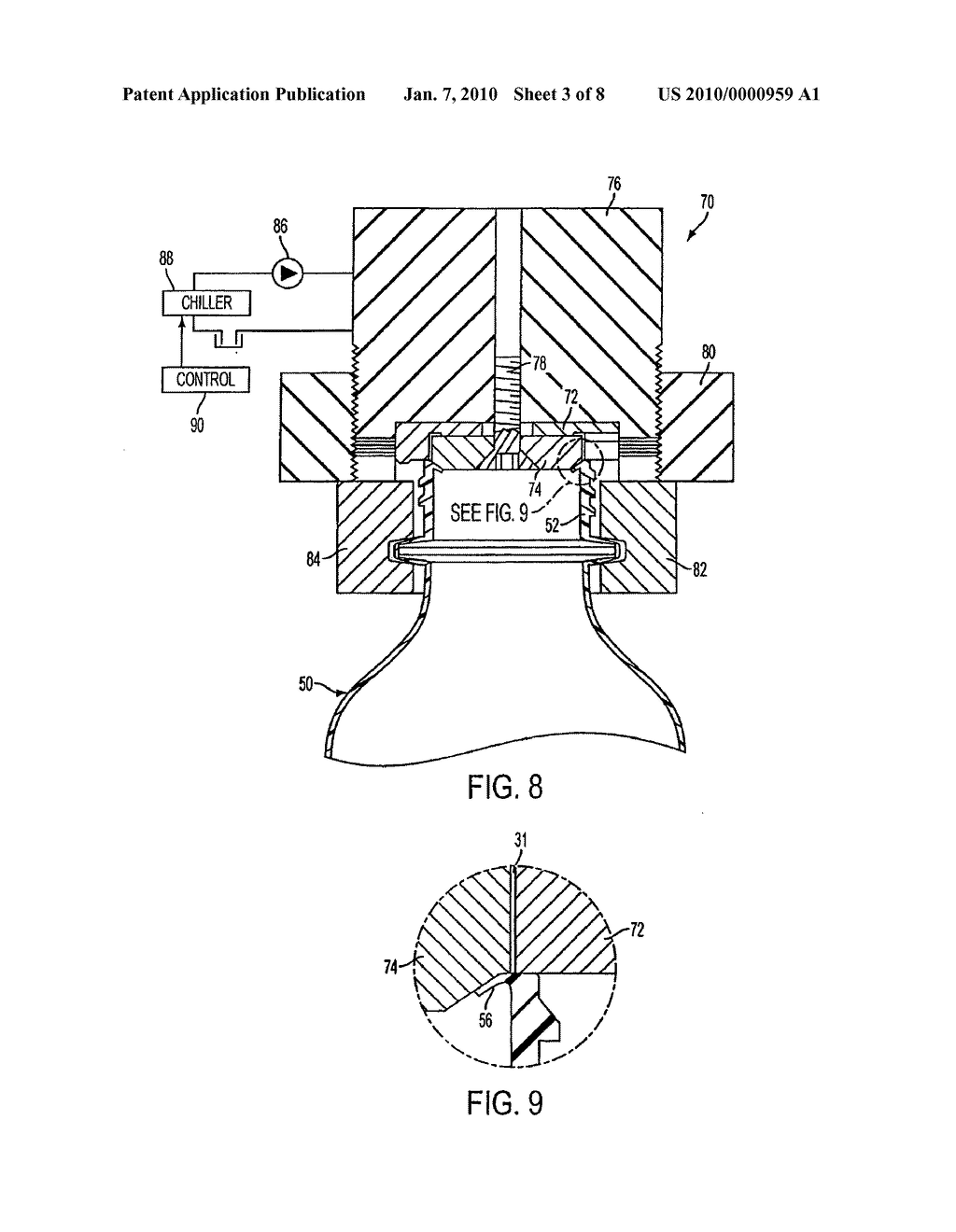 METHOD FOR REFORMING A PORTION OF A PLASTIC CONTAINER TO INCLUDE A TRANSFERABLE ELEMENT, AND THE RESULTING CONTAINER - diagram, schematic, and image 04