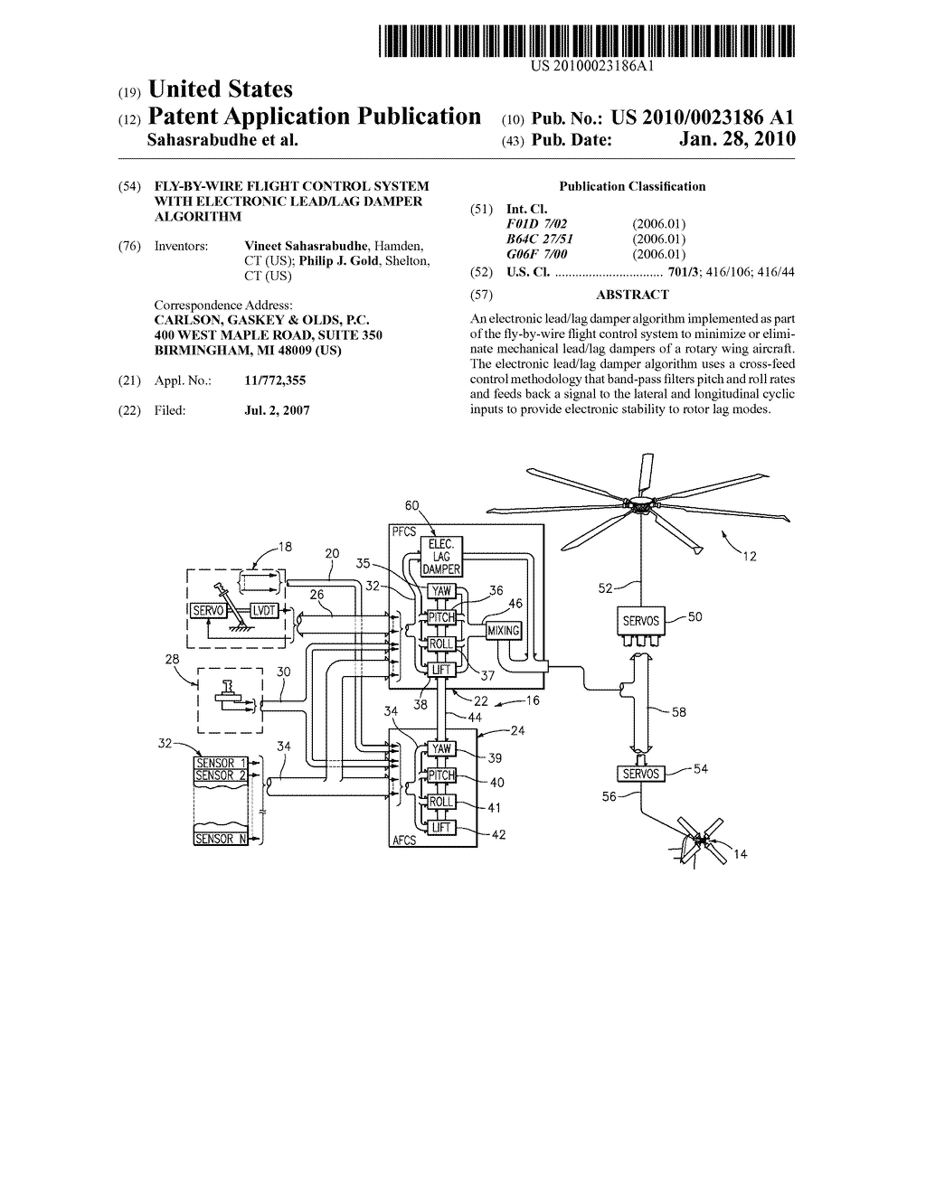 FLY-BY-WIRE FLIGHT CONTROL SYSTEM WITH ELECTRONIC LEAD/LAG DAMPER ALGORITHM  - diagram, schematic, and image 01