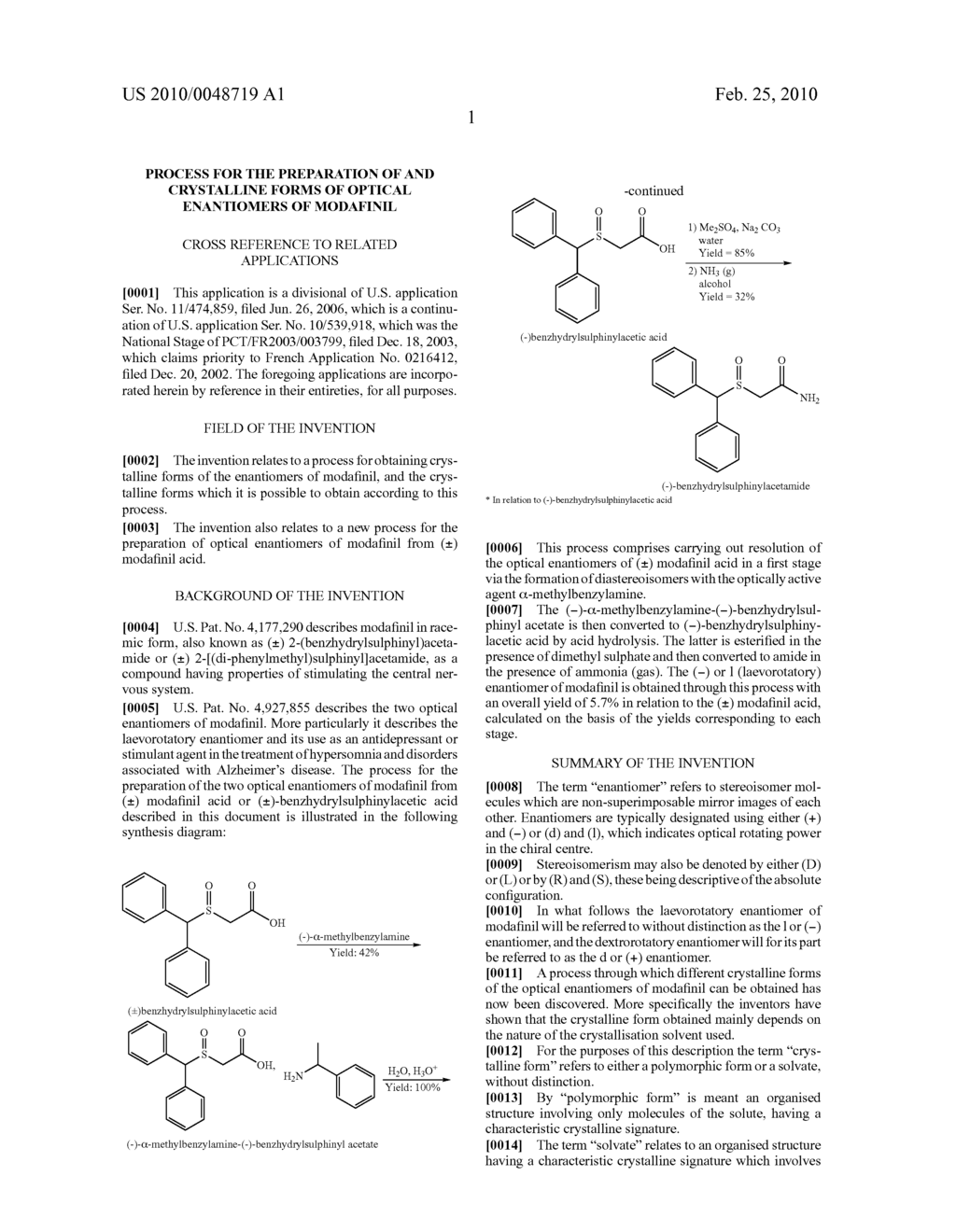 Process for the Preparation of and Crystalline Forms of Optical Enantiomers of Modafinil - diagram, schematic, and image 18