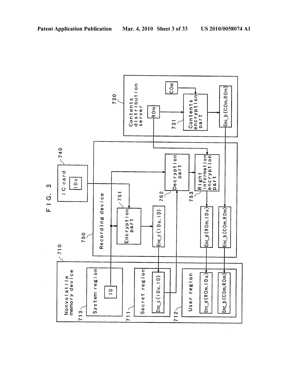 RIGHT INFORMATION ENCRYPTION MODULE, NONVOLATILE MEMORY DEVICE, RIGHT INFORMATION RECORDING SYSTEM, RIGHT INFORMATION DECRYPTION MODULE, RIGHT INFORMATION READING SYSTEM, AND RIGHT INFORMATION RECORDING/READING SYSTEM - diagram, schematic, and image 04
