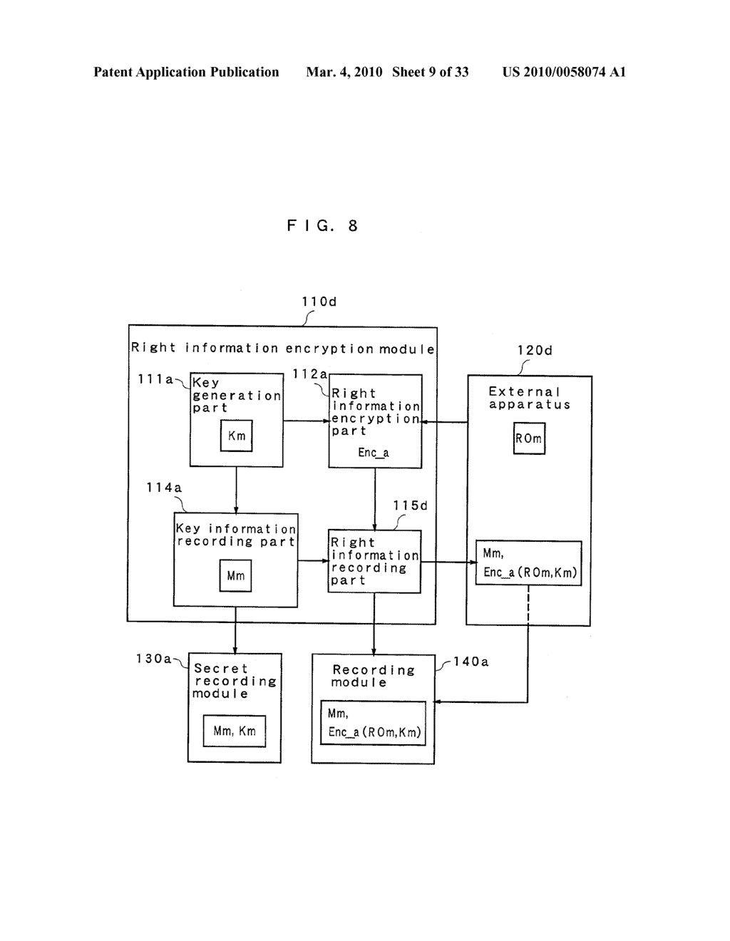 RIGHT INFORMATION ENCRYPTION MODULE, NONVOLATILE MEMORY DEVICE, RIGHT INFORMATION RECORDING SYSTEM, RIGHT INFORMATION DECRYPTION MODULE, RIGHT INFORMATION READING SYSTEM, AND RIGHT INFORMATION RECORDING/READING SYSTEM - diagram, schematic, and image 10