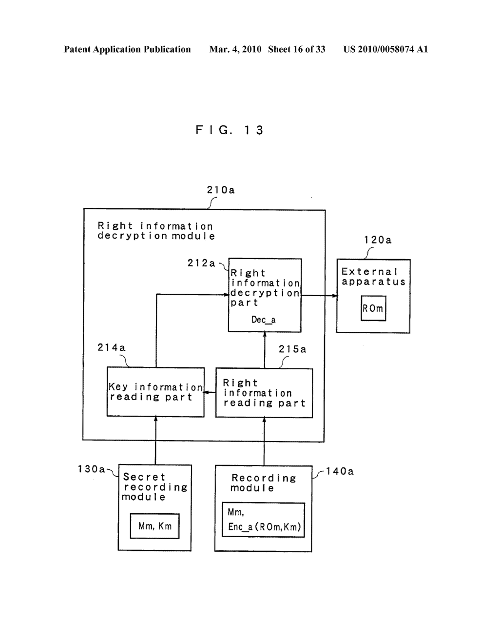 RIGHT INFORMATION ENCRYPTION MODULE, NONVOLATILE MEMORY DEVICE, RIGHT INFORMATION RECORDING SYSTEM, RIGHT INFORMATION DECRYPTION MODULE, RIGHT INFORMATION READING SYSTEM, AND RIGHT INFORMATION RECORDING/READING SYSTEM - diagram, schematic, and image 17