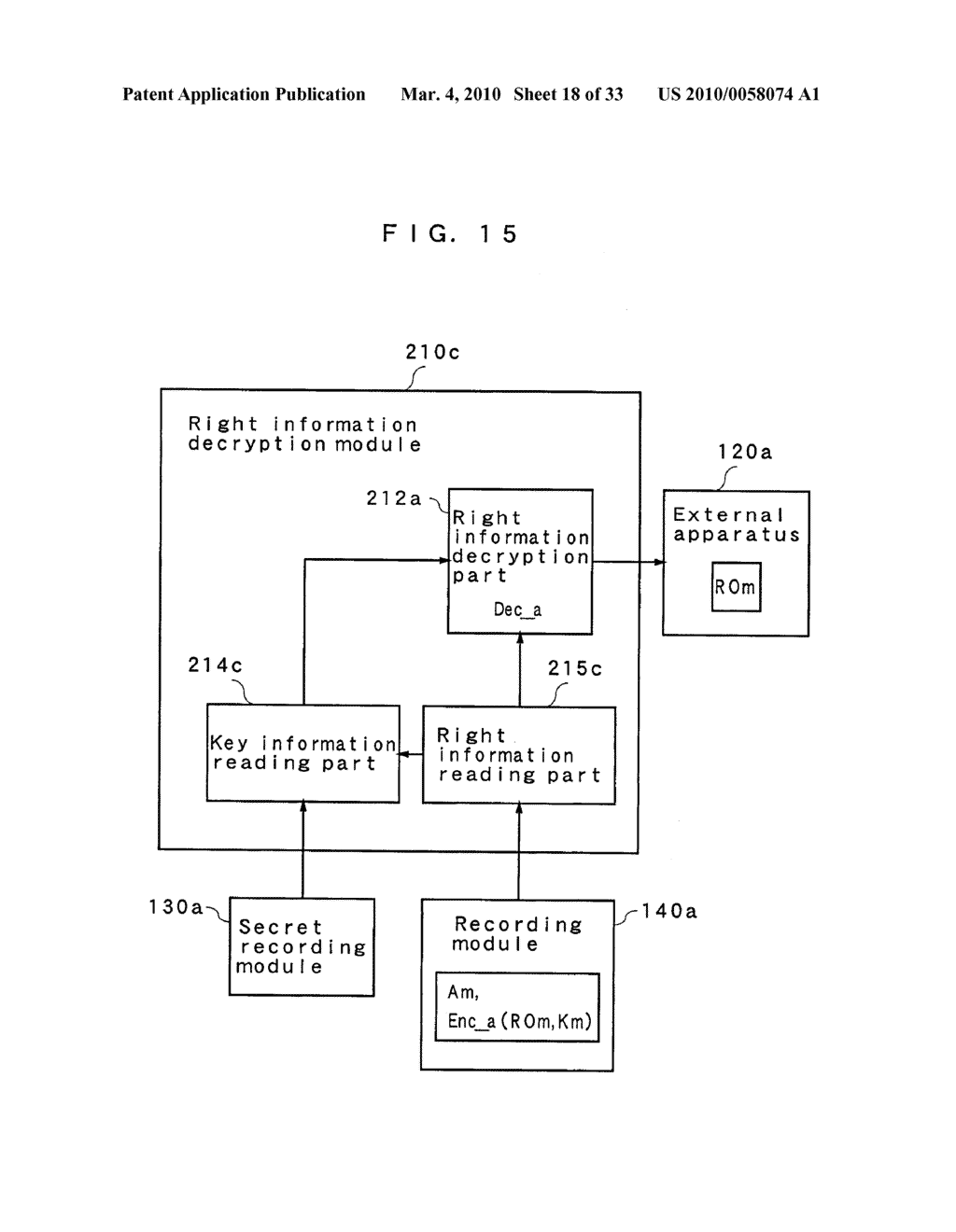 RIGHT INFORMATION ENCRYPTION MODULE, NONVOLATILE MEMORY DEVICE, RIGHT INFORMATION RECORDING SYSTEM, RIGHT INFORMATION DECRYPTION MODULE, RIGHT INFORMATION READING SYSTEM, AND RIGHT INFORMATION RECORDING/READING SYSTEM - diagram, schematic, and image 19