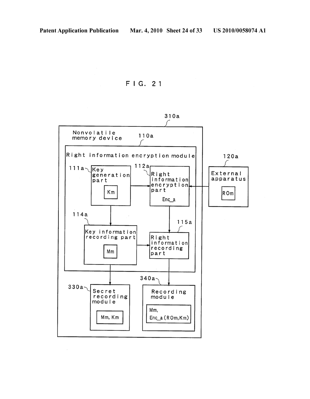 RIGHT INFORMATION ENCRYPTION MODULE, NONVOLATILE MEMORY DEVICE, RIGHT INFORMATION RECORDING SYSTEM, RIGHT INFORMATION DECRYPTION MODULE, RIGHT INFORMATION READING SYSTEM, AND RIGHT INFORMATION RECORDING/READING SYSTEM - diagram, schematic, and image 25