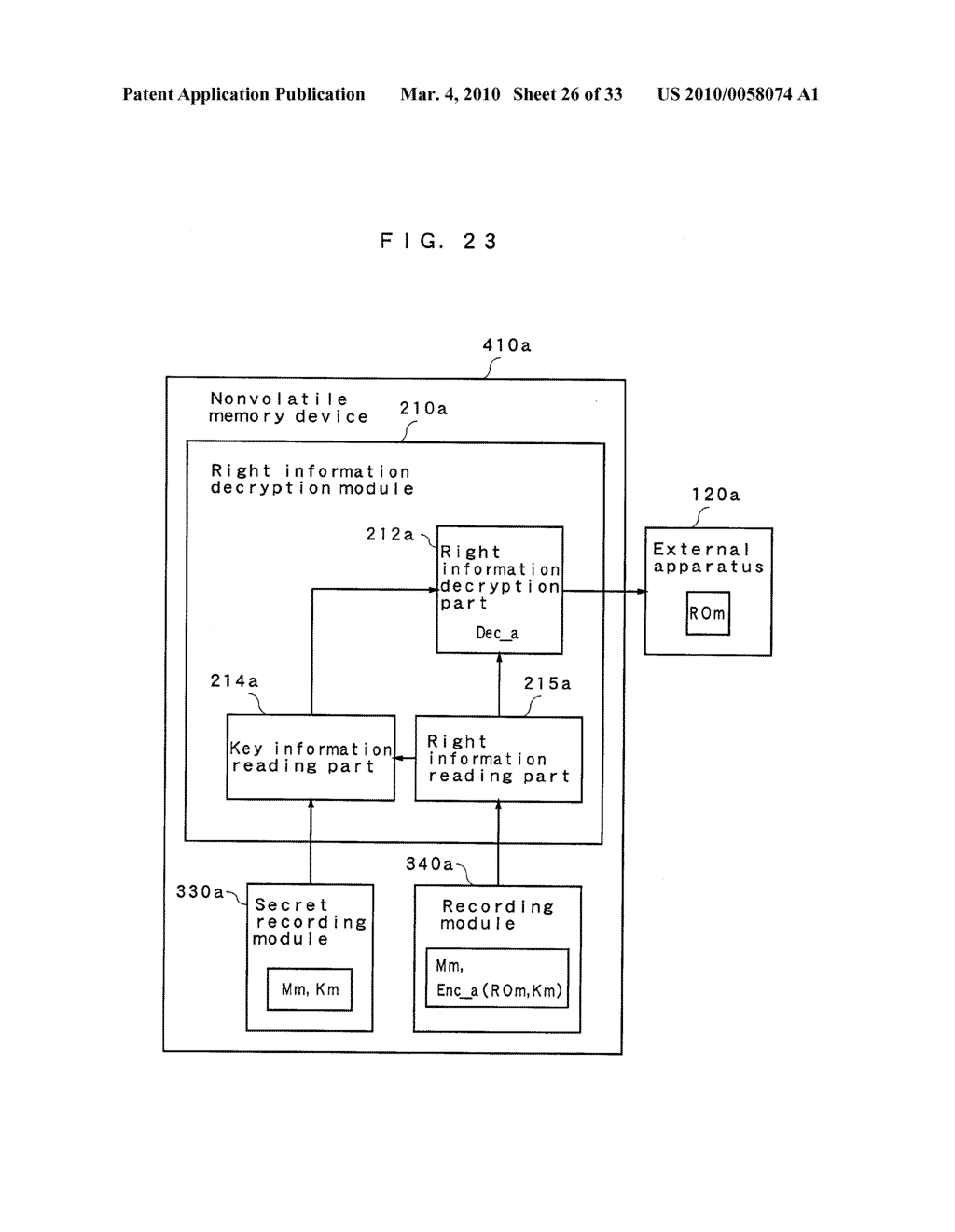 RIGHT INFORMATION ENCRYPTION MODULE, NONVOLATILE MEMORY DEVICE, RIGHT INFORMATION RECORDING SYSTEM, RIGHT INFORMATION DECRYPTION MODULE, RIGHT INFORMATION READING SYSTEM, AND RIGHT INFORMATION RECORDING/READING SYSTEM - diagram, schematic, and image 27