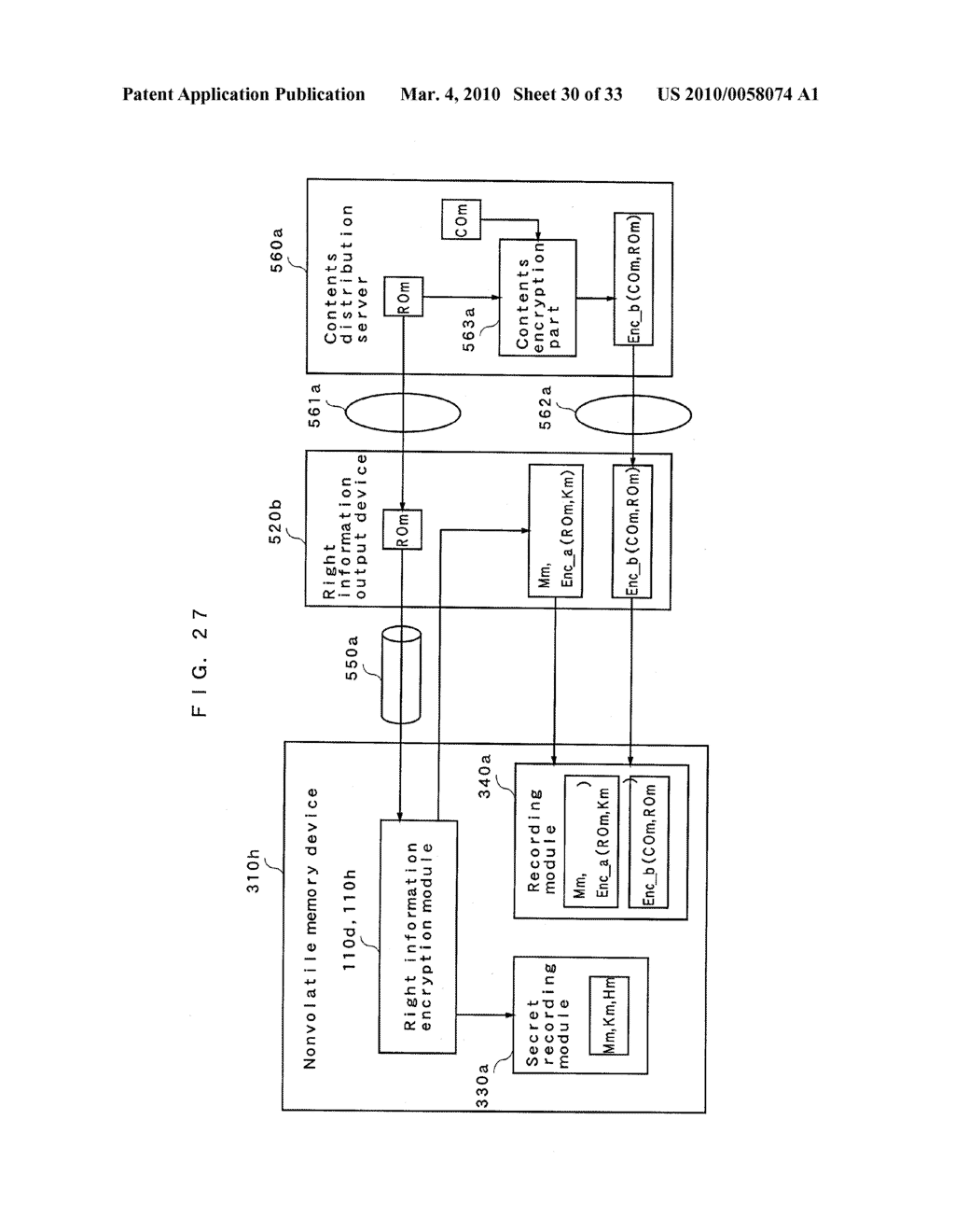 RIGHT INFORMATION ENCRYPTION MODULE, NONVOLATILE MEMORY DEVICE, RIGHT INFORMATION RECORDING SYSTEM, RIGHT INFORMATION DECRYPTION MODULE, RIGHT INFORMATION READING SYSTEM, AND RIGHT INFORMATION RECORDING/READING SYSTEM - diagram, schematic, and image 31