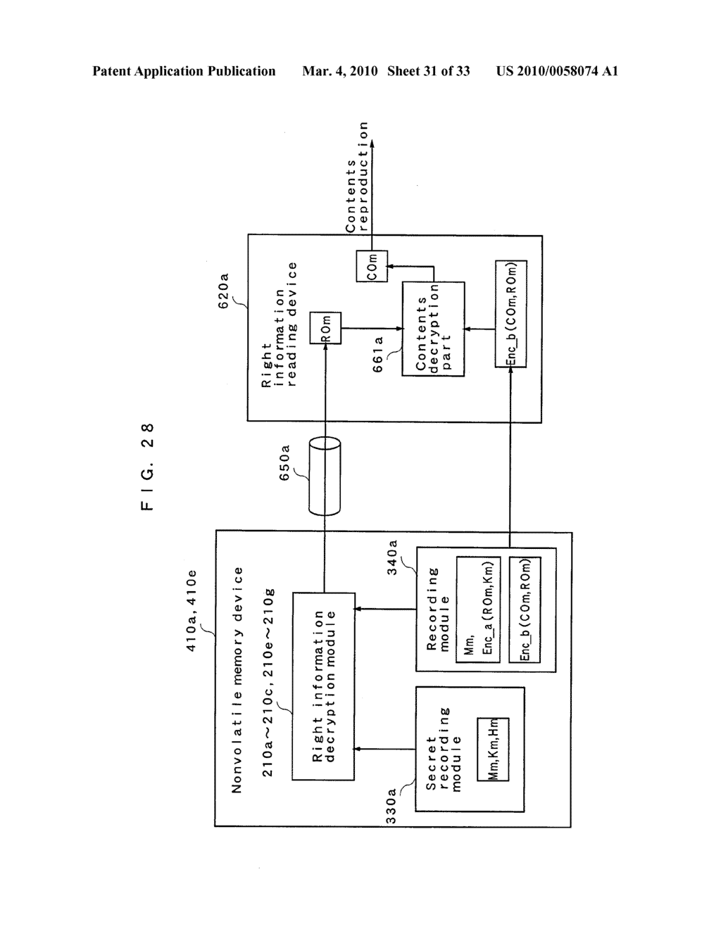 RIGHT INFORMATION ENCRYPTION MODULE, NONVOLATILE MEMORY DEVICE, RIGHT INFORMATION RECORDING SYSTEM, RIGHT INFORMATION DECRYPTION MODULE, RIGHT INFORMATION READING SYSTEM, AND RIGHT INFORMATION RECORDING/READING SYSTEM - diagram, schematic, and image 32