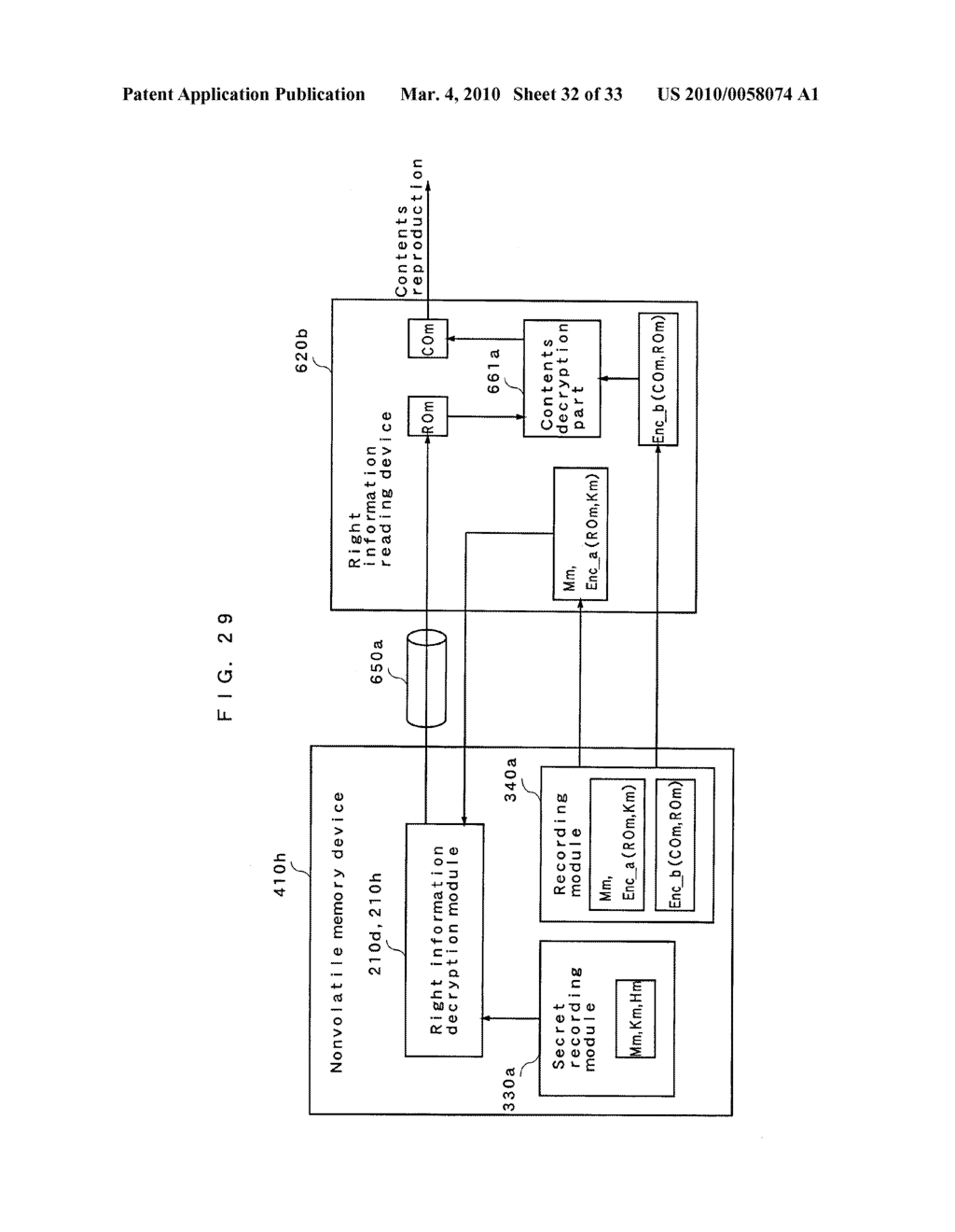 RIGHT INFORMATION ENCRYPTION MODULE, NONVOLATILE MEMORY DEVICE, RIGHT INFORMATION RECORDING SYSTEM, RIGHT INFORMATION DECRYPTION MODULE, RIGHT INFORMATION READING SYSTEM, AND RIGHT INFORMATION RECORDING/READING SYSTEM - diagram, schematic, and image 33